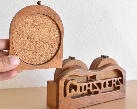 mid century modern carved wood drink coaster set | kitschy | gift for coffee lover