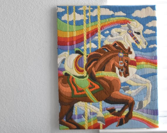 vintage embroidery rainbow horse crewel picture / cross stitch / needlepoint / wall hanging