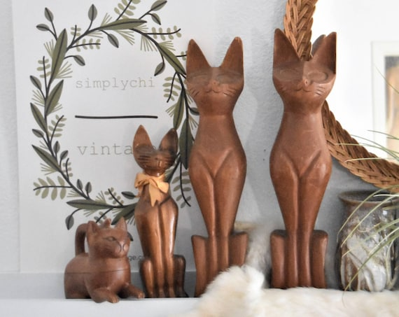 """15"""" tall carved solid wood mid century modern siamese cat sculpture figurine"""