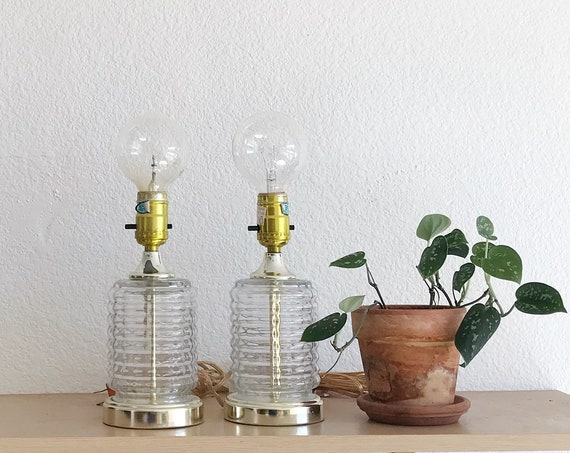 mid century clear glass cylinder table lamp | matching set of 2
