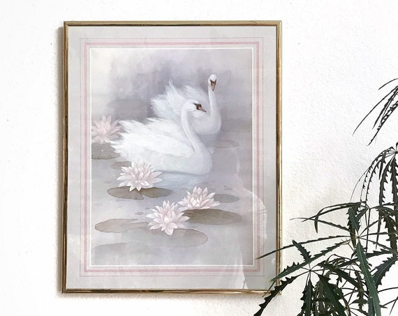 80s vintage gold frame swan birds and pink flower wall hanging art