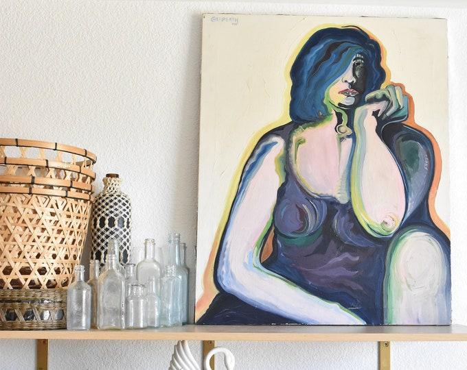 original large pop art mid century modern retro woman portrait / blue abstract art