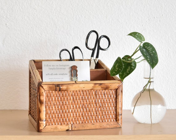 vintage wood woven wicker office file storage / note holder