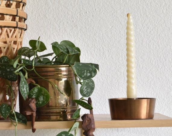 heavy mid century modern solid copper brass cup candlestick candleholder