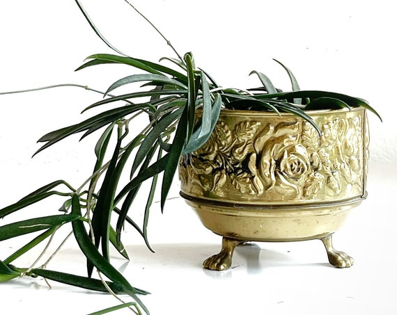 vintage rustic footed solid brass planter with textured floral design / flower pot / england / french