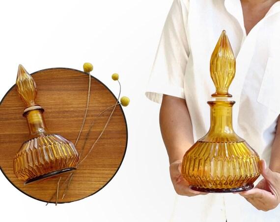 vintage amber glass decanter | cocktail barware gift