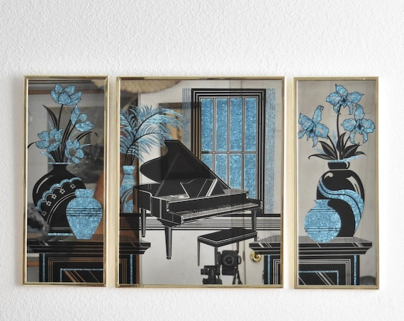 blue hollywood regency triptych wall hanging gold mirror with flower vase piano print | art deco wall art
