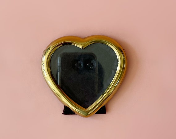 vintage brass heart picture frame / love standing photo display