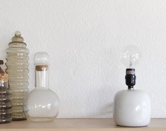 mid century modern white ball table lamp / ceramic orb light