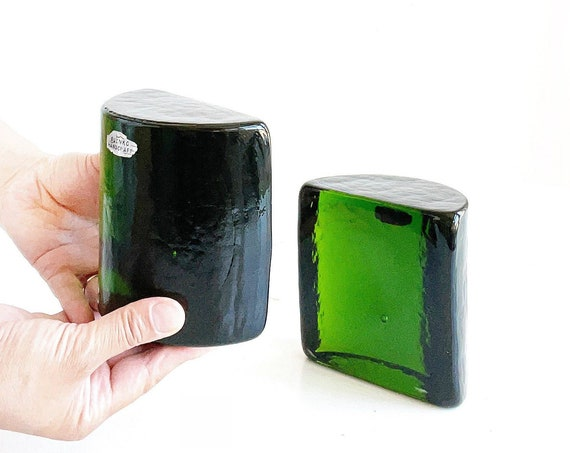 blenko chunky green solid glass bookends / set of 2