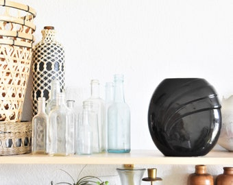 ad0d049c4f0 mid century modern haeger style art deco black ceramic vase   flower pot    planter