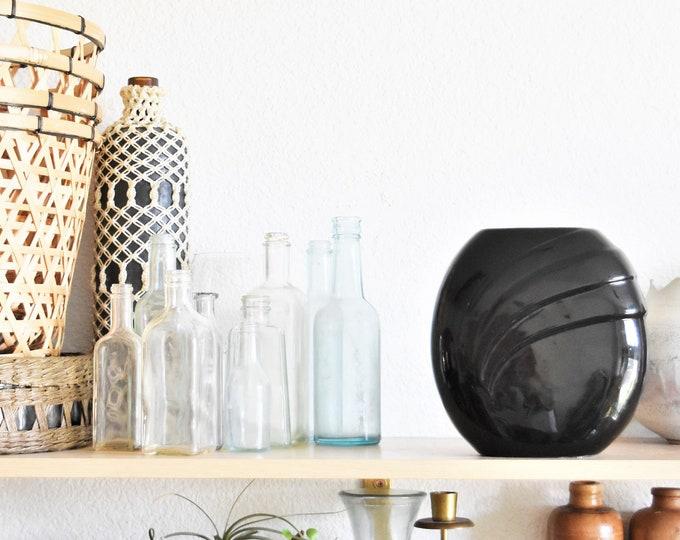 mid century modern haeger style art deco black ceramic vase / flower pot / planter