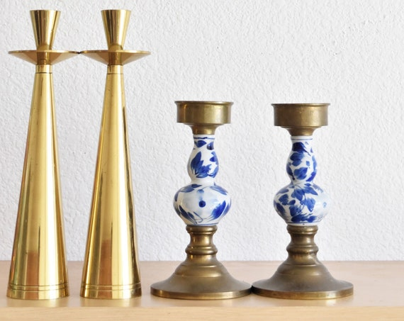blue and white pair of solid brass chinoiserie ceramic candlestick holders / candleholder set of 2  / asian home decor