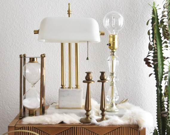 white onyx marble glass bankers table dresser lamp | office decor
