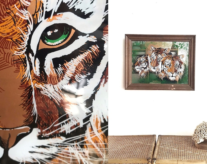framed large mid century orange tiger wall hanging mirror | illustrated wild tiger print