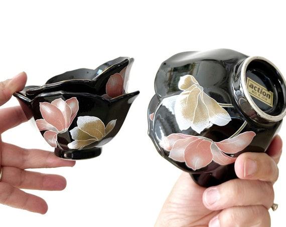 vintage japanese nesting black pink lotus flower bowls / stacking ceramic bowls