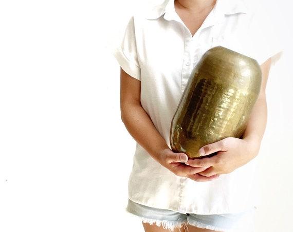 large hollywood regency hammered brass orb planter / flower vase