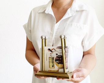 gold metal office note holder