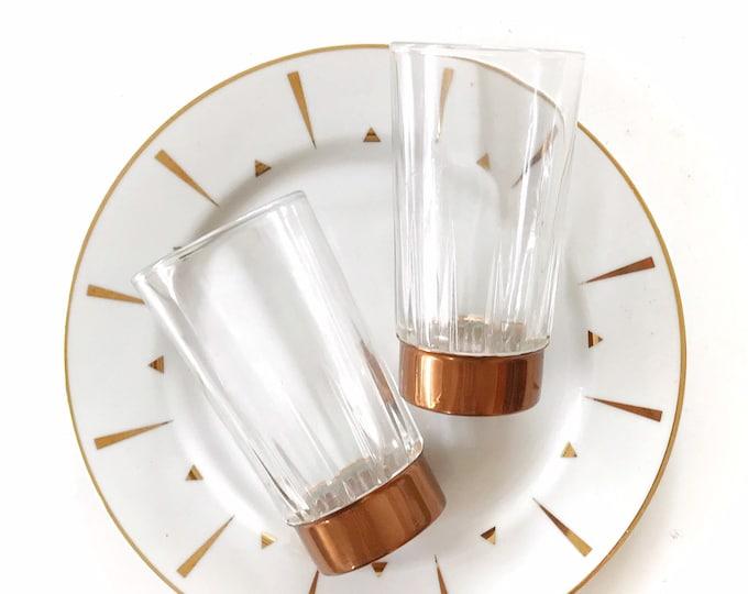 set of 2 copper guild glass drinking glasses | gift barware