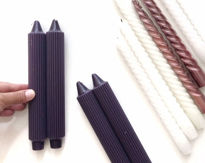 chunky purple tapered beeswax candle set | wax candleholder sticks