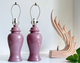 1980s post modern pink ceramic table lamps | matching set of 2