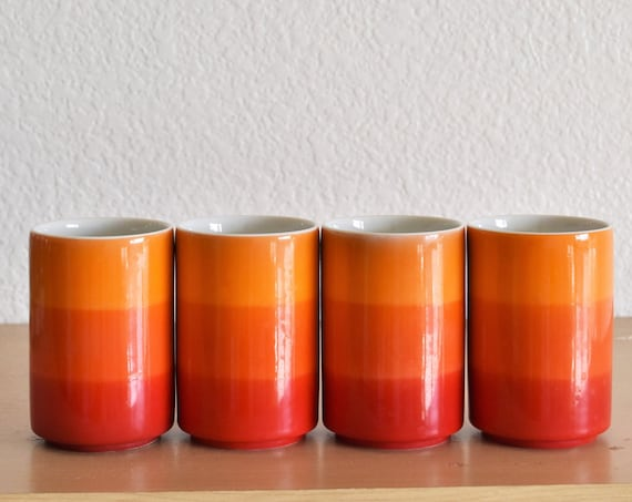 set of 4 ceramic striped orange drinking tumbler cups / small tea mugs glasses