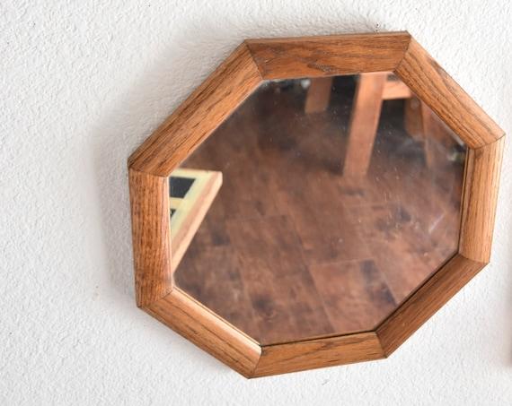 vintage wood octagon wall hanging mirror