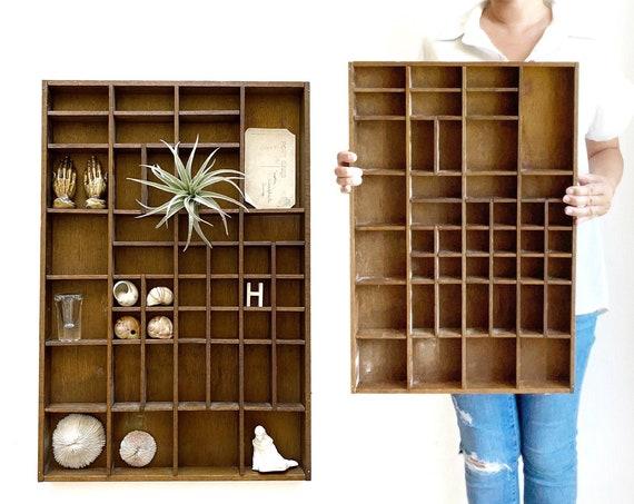 large wall hanging wooden printer's box / curio shadow box / pocket shelf