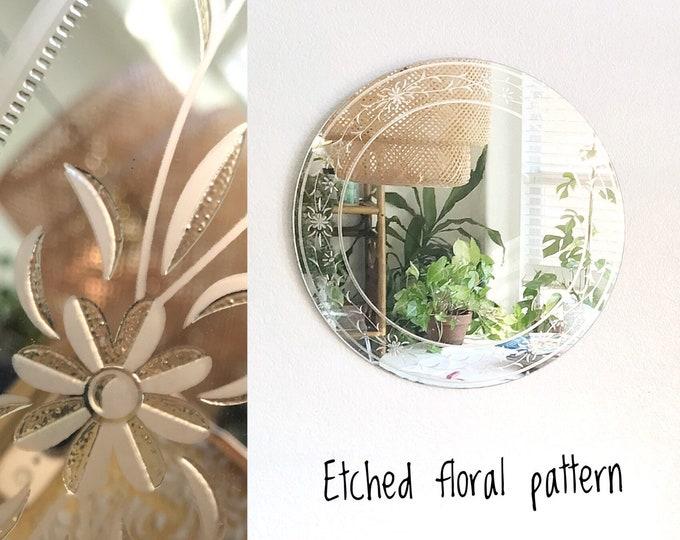 silver gilded circle shaped wall hanging mirror
