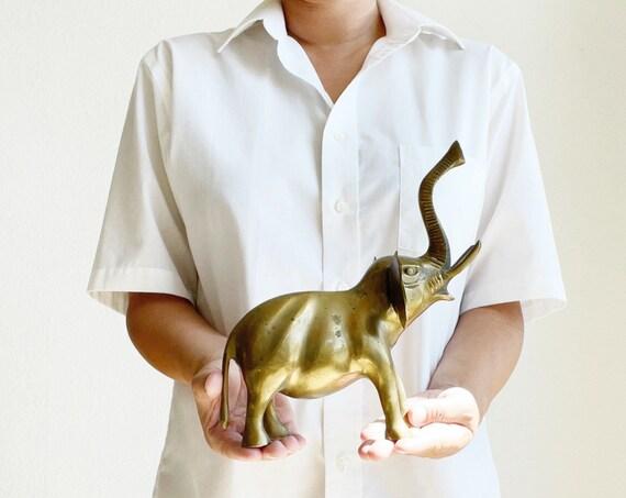 mid century solid brass elephant figurine rocker | trunk up sculpture