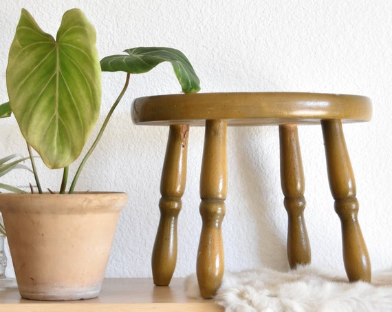 vintage small carved oval wood stool / plant stand