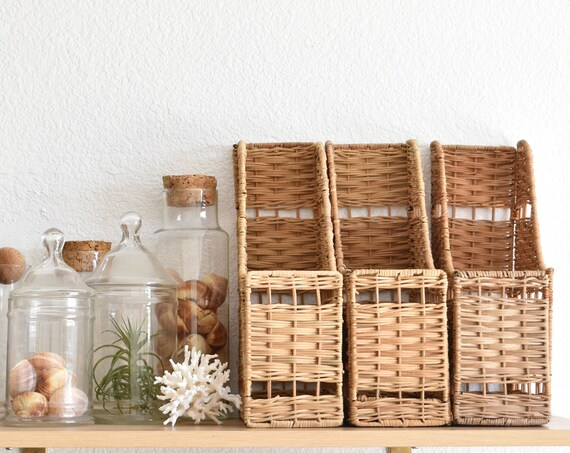 woven wicker office file storage / paper note holder / 2 available