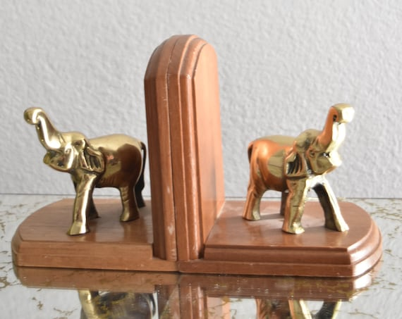 vintage solid brass elephant figurine bookends / trunks up
