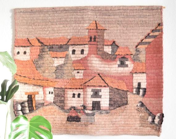 vintage large pink hand woven wool peruvian folk art tapestry / wall hanging textile