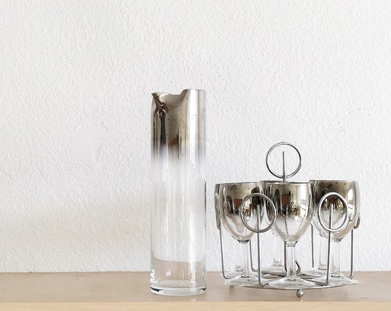 mid century modern ombre silver rim cocktail glass set / madmen style