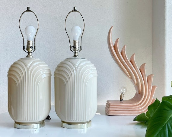 set of 2 hollywood regency cream glass table lamp | art deco curved lines