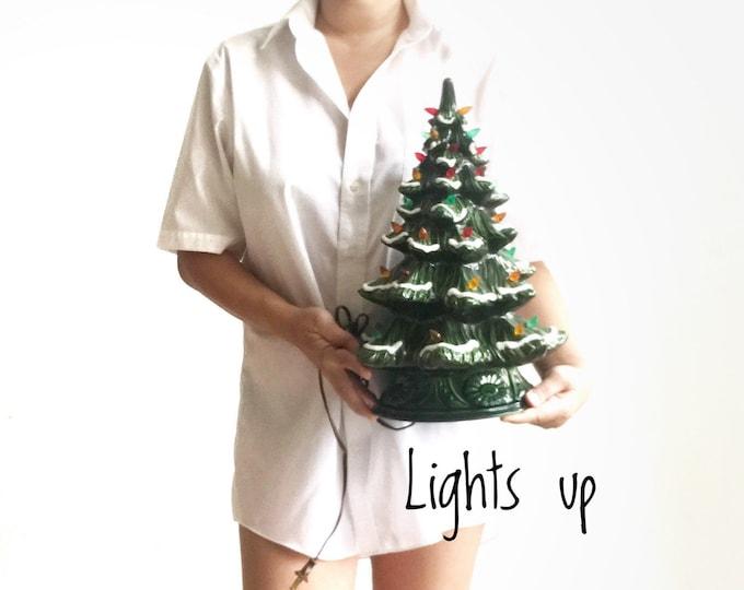 retro ceramic christmas tree night light lamp   xmas decoration