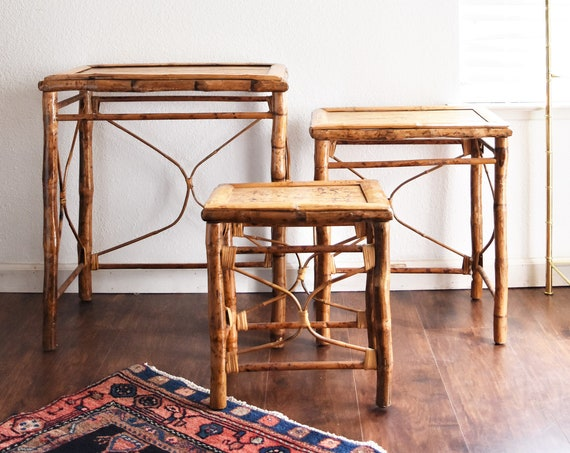 mid century modern woven bamboo rattan nesting side tables | stacking end table set \ chinoiserie style home furniture