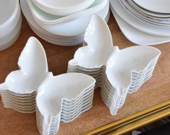 set of 4 matching white ceramic modern butterfly trinket plates