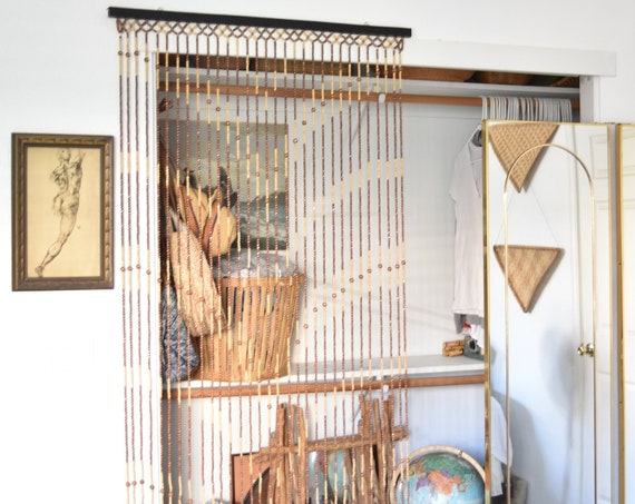 vintage wood beaded wall hanging curtain / door screen window curtain / room divider / brown beige
