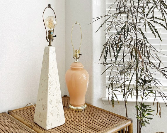 mid century modern white clay pyramid pottery table lamp
