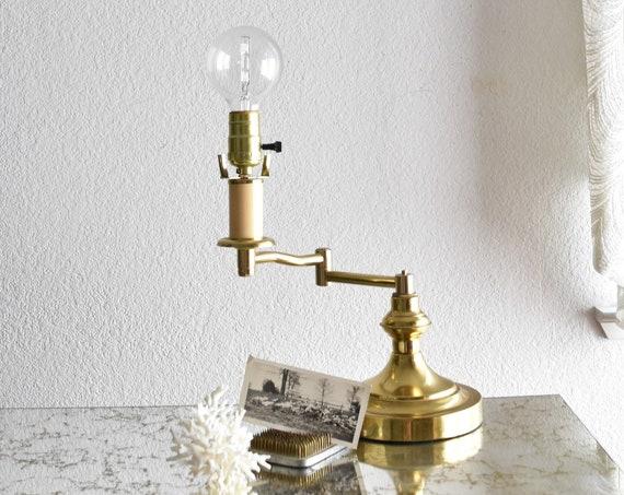 mid century swivel hollywood regency brass table lamp