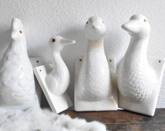 vintage large white ceramic bird head mount / bird figurine / wall hanging / nursery decor