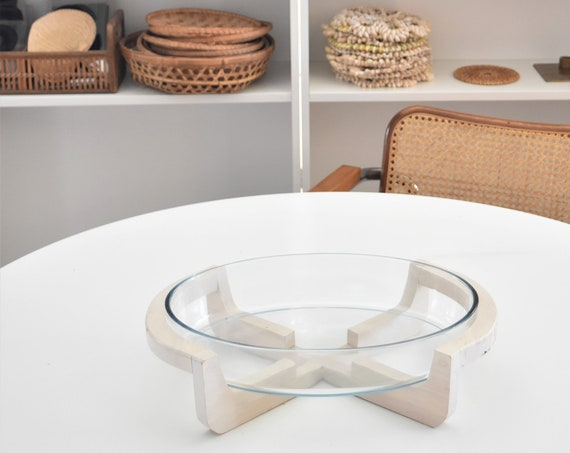 mid century modern oval glass serving salad bowl with wood holder stand | retro kitchen cooking cradle bowl