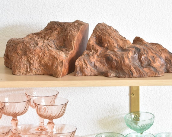 large mid century modern natural solid burl wood bookends / wooden chunk decoration