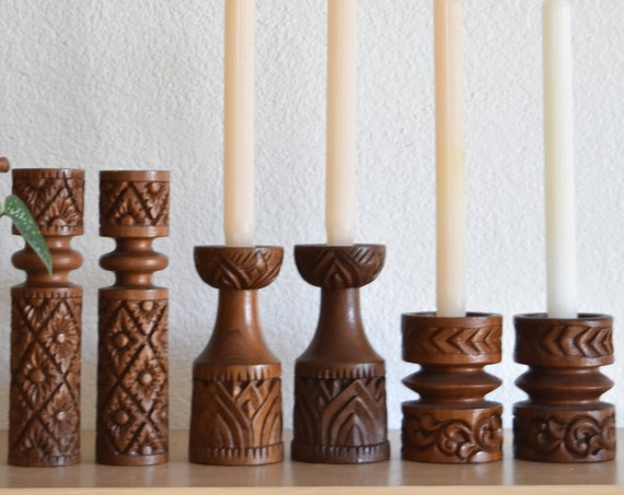 pair of stunning ornate hand carved wooden candlestick holders / set of 2 / boho