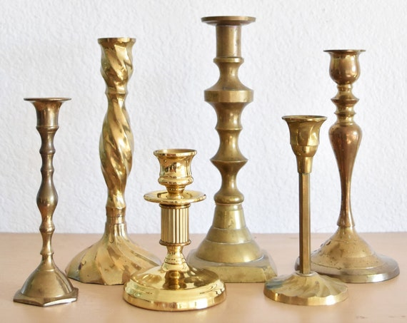 set of 6 solid brass ornate candle holders / instant collection of candlestick holders