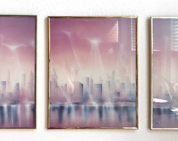 1980s framed pink triptych poster | modern city life art print