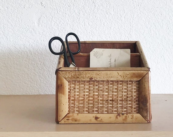 woven bamboo wood office paper file / mail sorter organizer