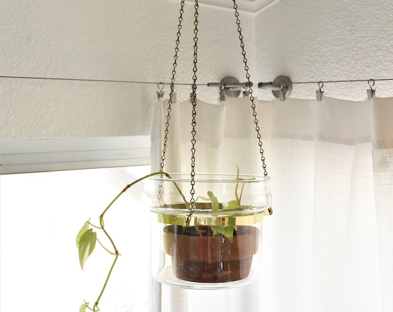 hanging metal brass chain glass pot plant holder / flower pot container
